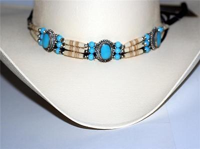 South Western Native American Cowboy Bleu Turquoise Perles Ceinture Bande de Bonnet Tour de cou