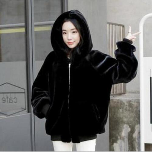caldi visone Cappotti per di Cappotti Cappuccio Faux cerniera con pelle donna nera libero in tempo Giacca ASZS4Hq