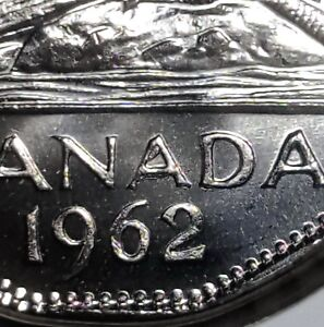 Canada-1962-Die-Chip-on-A-Error-Five-Cents-Gem-BU