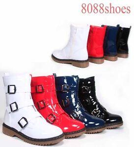 Women-039-s-Patent-Faux-Leather-Low-Heel-Triple-Buckle-Combat-Boots-Size-5-5-10