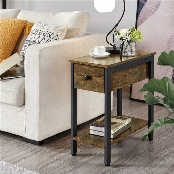 Narrow Side Table 2-Tier End Tables with Drawer Shelf Nightstand with Storage