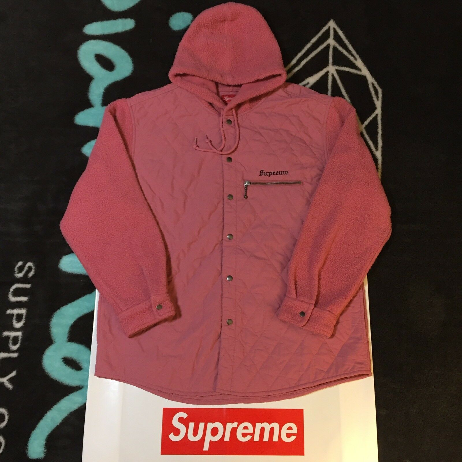 SUPREME HOODED FLEECE NYLON SHIRT (XL) (PINK) FW17 NAS TEE NIKE AIR HUMARA MATCH