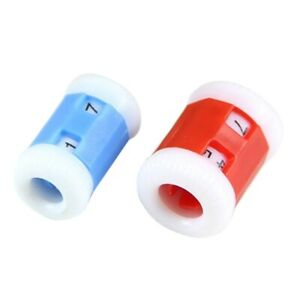 2-grosse-rote-Plastik-Strick-Stricknadeln-Reihenzaehler-2-Kleine-blaue-Pla-P8B1