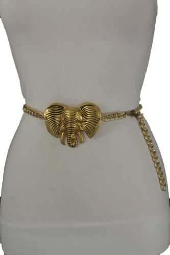 Women Belt Southern Fashion Thick Gold Metal Chains Safari Elephant Big Buckle