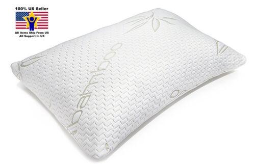 Hypoallergenic Bamboo Pillow Queen Flat Shredded Memory Foam Linen Prestige