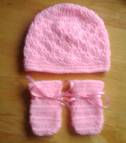 Handmade Hand Crocheted Baby unisex Hat /& Mitts Various Colours 100/%Acrylic