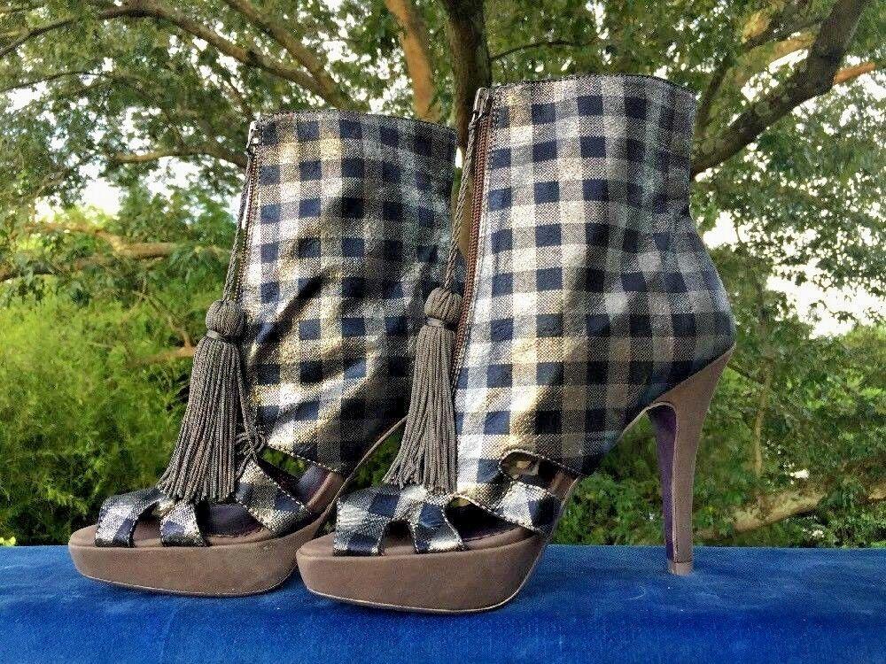POETIC LICENCE Plaid & Tassel avvioies Peep Toe Granny avvio scarpe donna Sz 6 b2