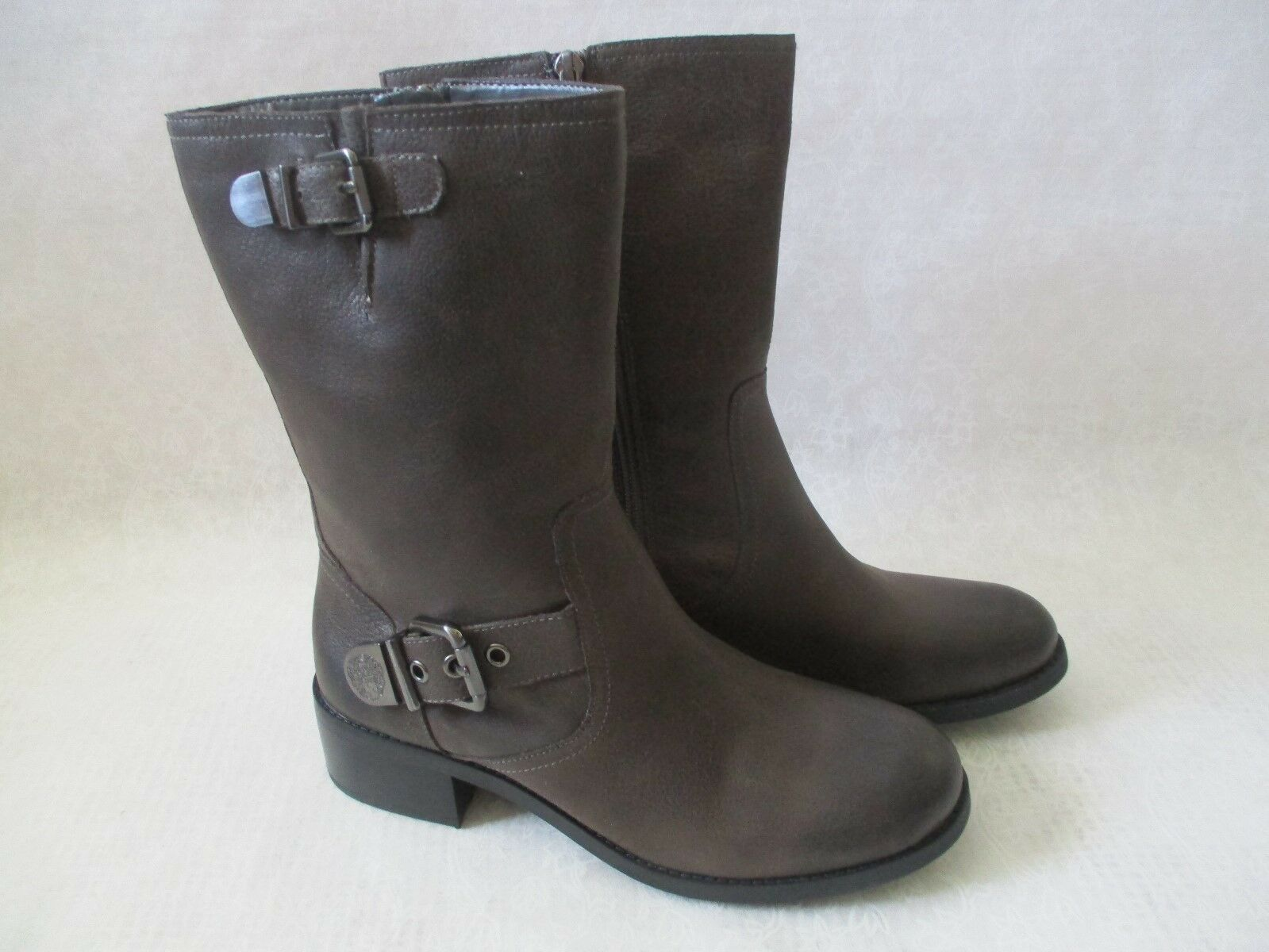 149 VINCE CAMUTO GRAY LED GENUINE LEATHER RIDING BOOTS SIZE 10 W - NEW W BOX