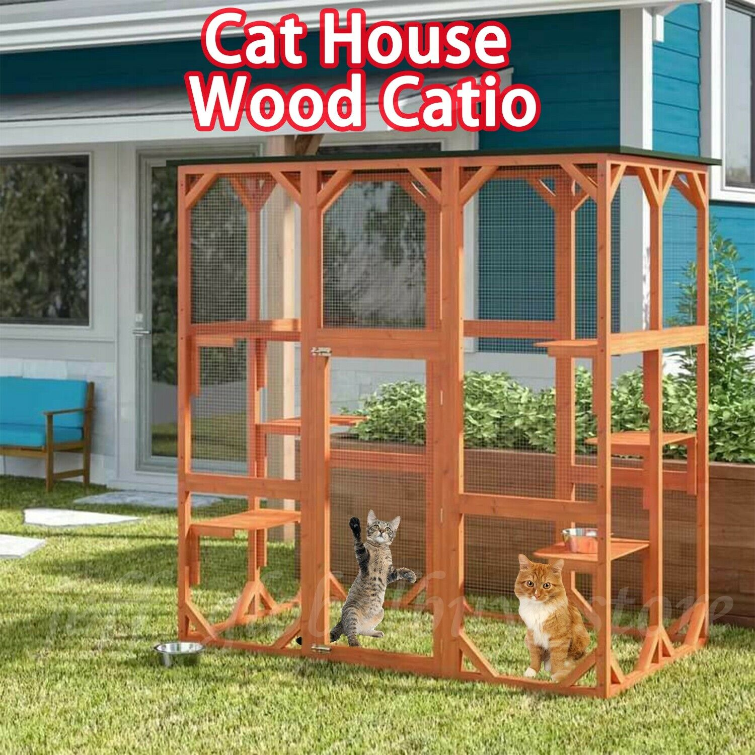 Holz Katzenhaus Catio Enclosure Pet Play Area Feline Home Outdoor w  Platforms
