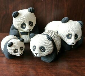 Set of 4 Artesania Rinconada Panda Bear Family Figurines Carved Ceramic Uruguay