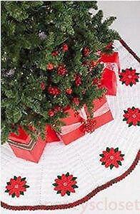 Crochet Pattern Christmas Tree Skirt Poinsettia | eBay