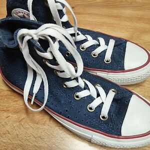 8d397bd1f72e23 CONVERSE ALL STAR Chuck Taylor Women US 6 EU 36.5 Navy Lace Eyelet ...