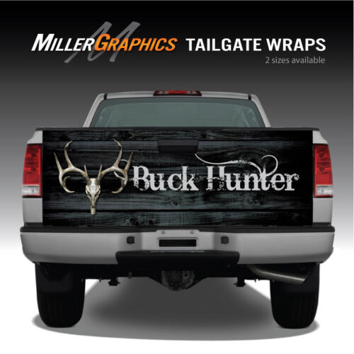 Buck Hunter Deer Skull Black Distressed Wood Truck Tailgate Graphic Decal Wrap