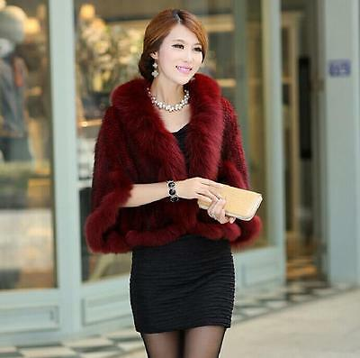 100%Real Knitted Mink Fur Coat Jacket cape Poncho sexy Black Fox Collar