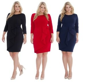 Ladies-Gemma-Collins-Style-Party-Dress-Goddess-Waterfall-Wrap-TOWIE-Plus-Size