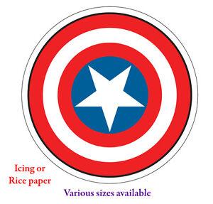 Capitán América Escudo 6 7 o 8inch 1 Comestibles Ronda Cake Topper Glaseado Papel De Arroz  </span>