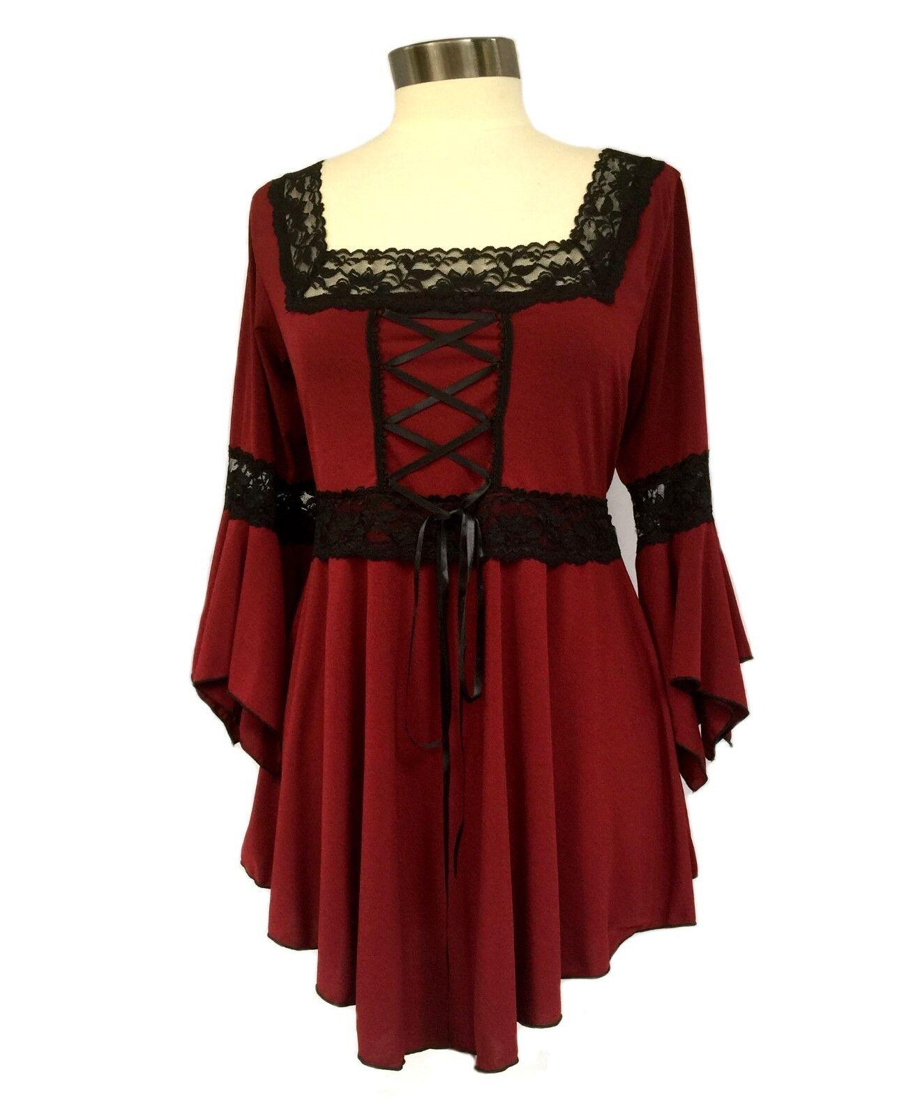 RENAISSANCE Gothic Victorian BURGUNDY rot Corset oben Größe 2X  -MSRP  60