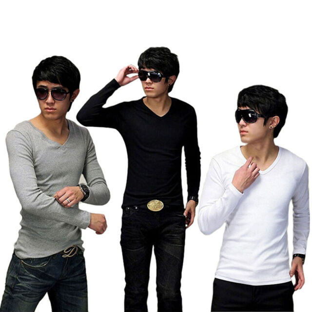 Fashion Men Slim Fit Cotton V-Neck Long Sleeve Casual T-Shirt Tops hot Stylish