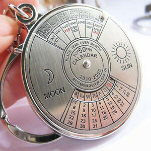 EE-50-Years-Perpetual-Calendar-Keyring-Keychain-Silver-Alloy-Key-Chain-Ring-Key