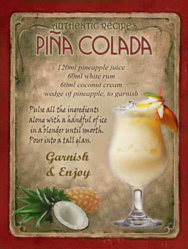 CAFE Cuisine Joli Cadeau HOME BAR Bar Pina coladacocktail recette Métal Signe PUB