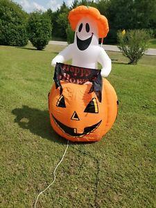 Gemmy-Airblown-Inflatable-Halloween-6-Ghost-Pumpkin-Light-Blow-Up-Rising-Ghost