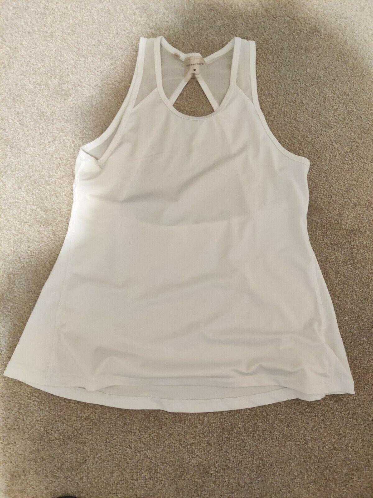 Myprotein white open back mesh sport gym tank top size S