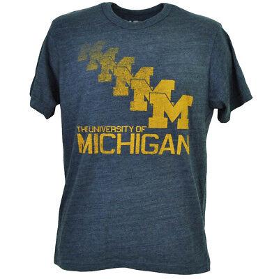 Sport Gutherzig Ncaa Michigan Vielfraße Repeat Logo Herren T-shirt Marineblau Rundhalsausschnitt