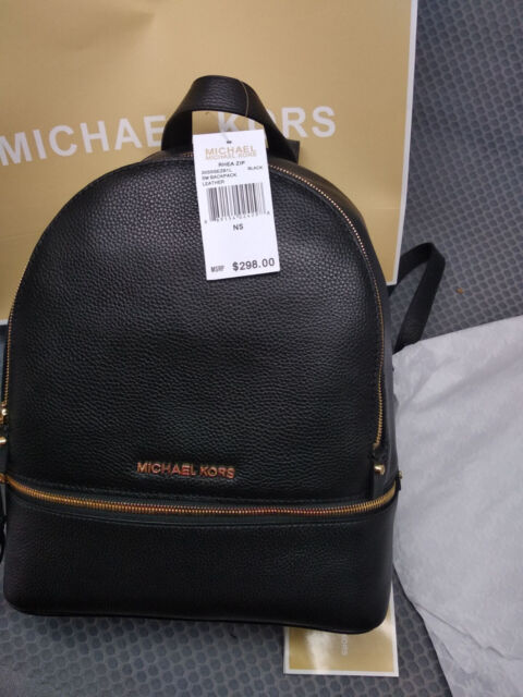 4d256e714fd59a Michael Kors Bag Rhea Zip MD Backpack Art 30s5gezb1l 001-12 Black ...