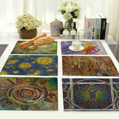 Sun Moon Insulation Cotton Linen Placemat Dining Coffee Table Mat Home Kitchen