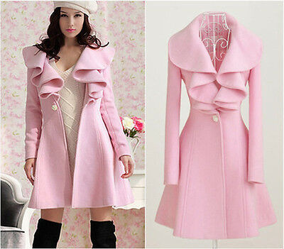 Hot ! womens pink trench long coat wool blend jacket ruffle syle slim fit M-XXL