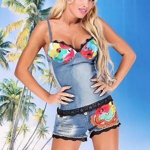 Damen Jeans 2 Teiler Hotpants Top Push Up Outfit Anzug Hose 34 38