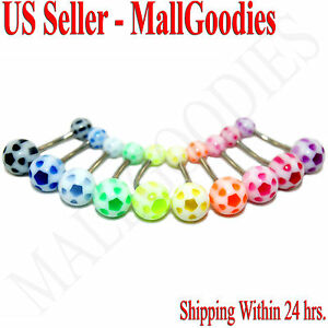 W057 Acrylic Belly Ring Naval Rings Flower Stars Shape Design LOT of 10 Colors