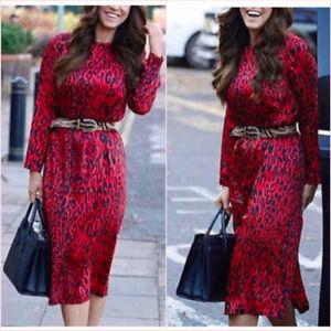 SALE-Zara-Red-Leopard-Long-Sleeve-Loose-Relaxed-Midi-Dress-XS-S-6-8-US-2-4