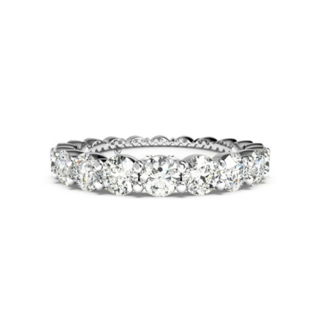 1.80 Ct Real Diamond Wedding Eternity Bands Size 7 14K Solid White Gold Size 7 6