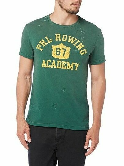 NWT Polo Ralph Lauren Green PRL 67 Rowing Academy Distressed T-shirt ANB