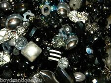 NEW GLASS 1/2 POUND of 6-20mm Black/Silver MIXED LOOSE BEADS LOT
