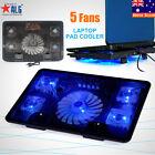 "5 Fans Blue LED USB Port Cooling Stand Pad Cooler For 12""-17"" Laptop Notebook"