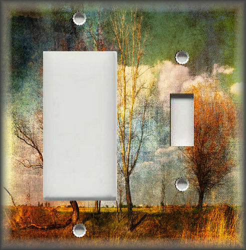 Tree Art Metal Light Switch Plate Cover Copper Green Trees Along The Road Decor