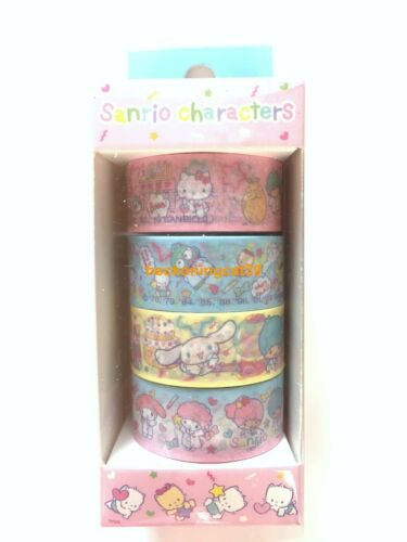 Sanrio Character Kitty My Melody Kiki Cinnamoroll Washi Masking Tape 4 pc JAPAN
