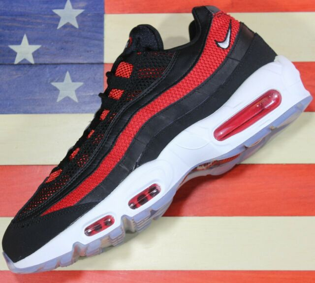 Nike Air Max 95 Essential Running Shoes Black White Red [749766 039] Men