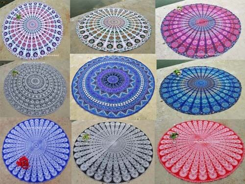 100% Cotton Handmade lot of 9 beach towels round tapestry Beach Towel Yoga Mat