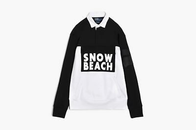 6779b0a8aa6 POLO RALPH LAUREN SNOW BEACH DOUBLE KNIT RUGBY SHIRT BLACK L LARGE NEW