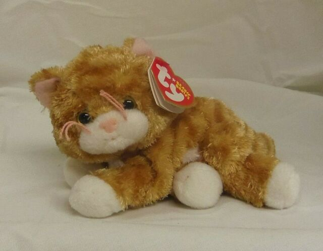 Tabbles 2006 TY Beanie Babie 6in orange & white laying Cat 3up MWMT 40605