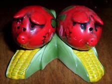 Vintage Colorful Floral Pigs on Corn Cob Salt & Pepper Shakers Enesco? NICE LOOK