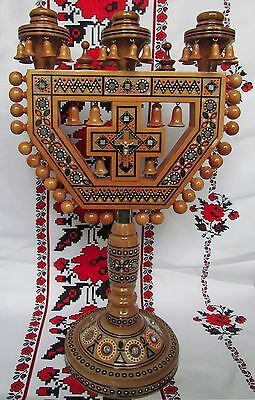 Details About 3 Holes Ukrainian Candle Holder Intarsia R Wood Inlaid Gl Beads Cross