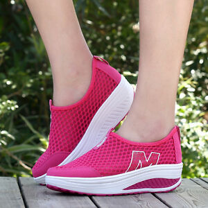 women's sneakers flats athletic mesh breathable platform