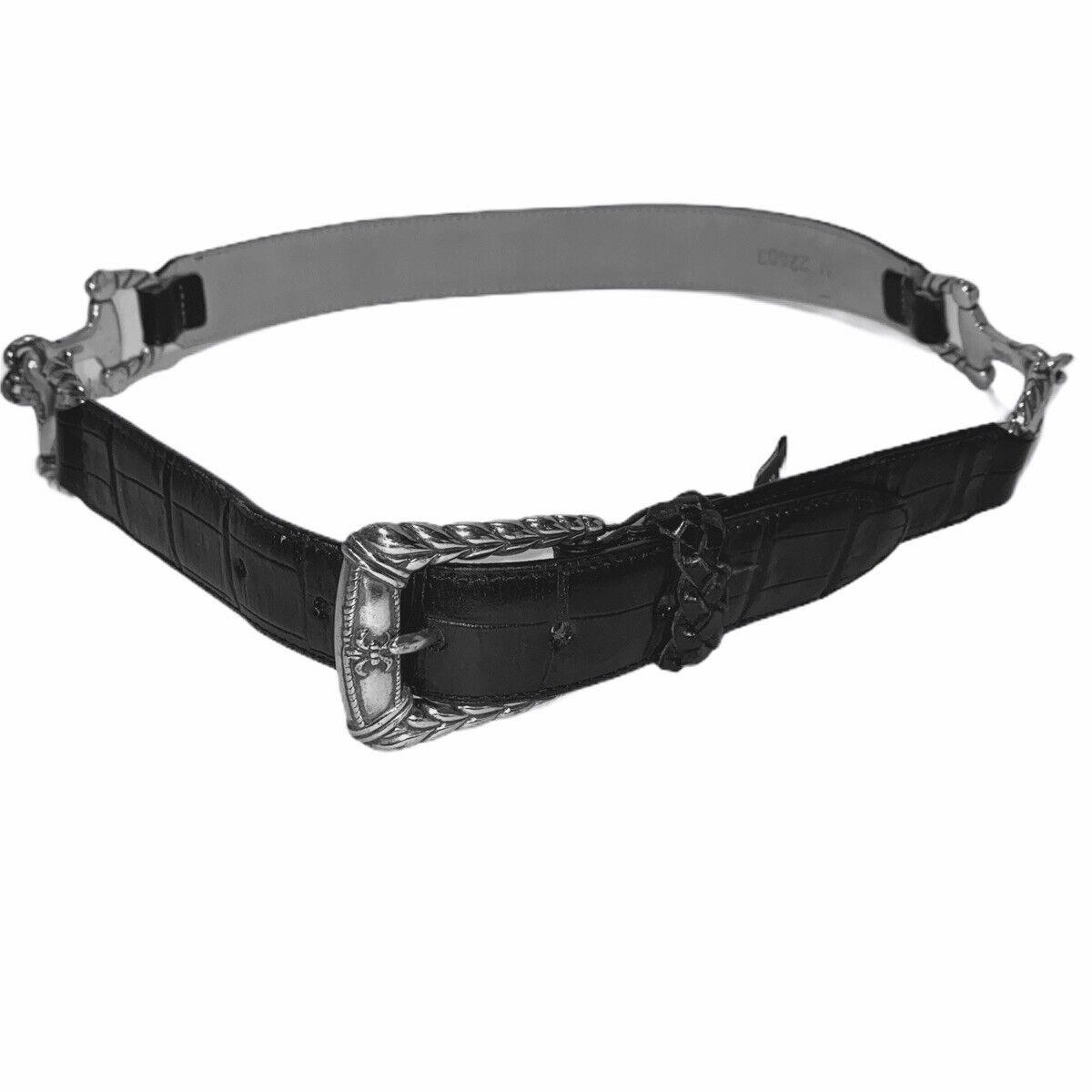 BRIGHTON Women Leather Belt Croc Horse Bit Black Silver Tone Medium 22403