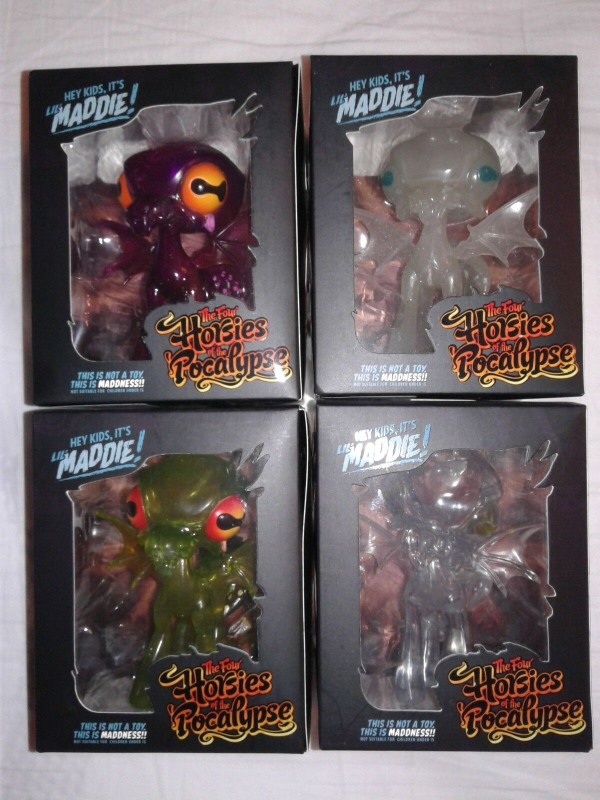 Four Horsies of the Pocalypse LIL MADDIE 4  Set of 4 Purple Green Clear GITD NEW