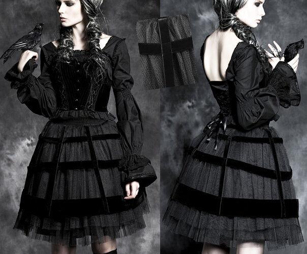 Jupe jupon gothique lolita burlesque baroque fashion tulle cage velours Punkrave