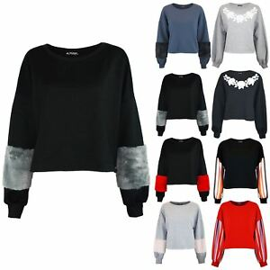 b8190396c26 Image is loading Ladies-Womens-Printed-Oversize-Loose-Fit-Batwing-Sweatshirt -